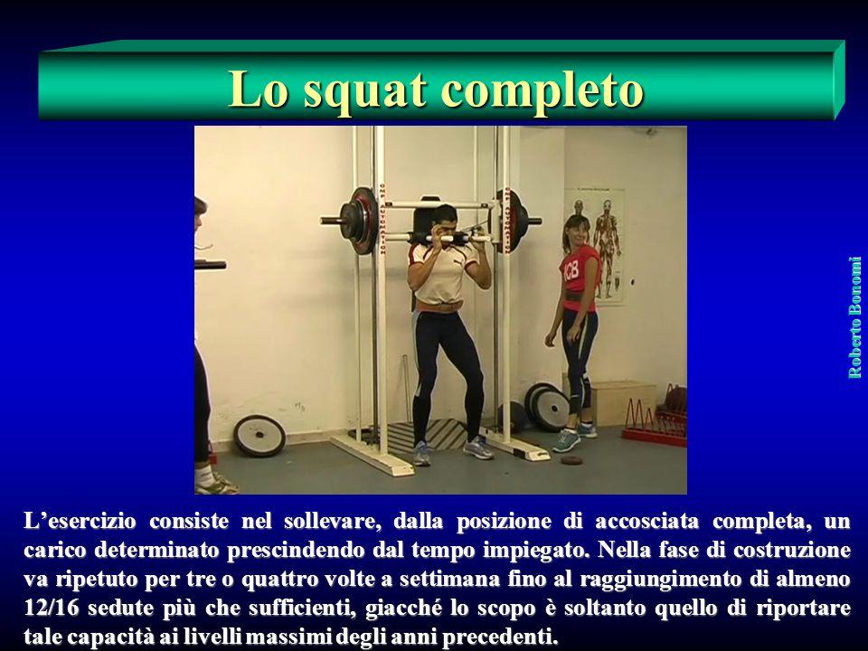 La forza massima relativa Vengono utilizzati tre esercizi: 1) lo squat completo continuo 2) lo squat parallelo continuo 3) il mezzo squat continuo Rob