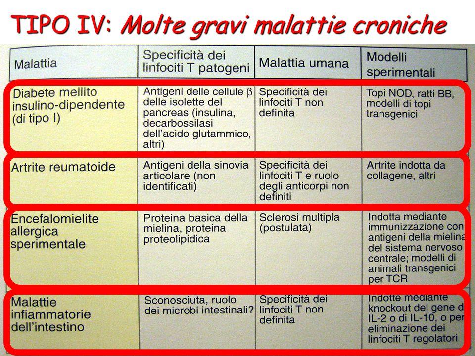 TIPO IV: Molte gravi malattie croniche