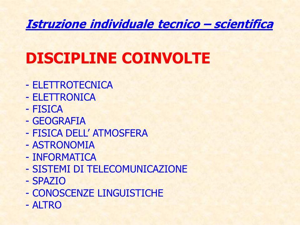 Istruzione individuale tecnico – scientifica DISCIPLINE COINVOLTE - ELETTROTECNICA - ELETTRONICA - FISICA - GEOGRAFIA - FISICA DELL ATMOSFERA - ASTRON