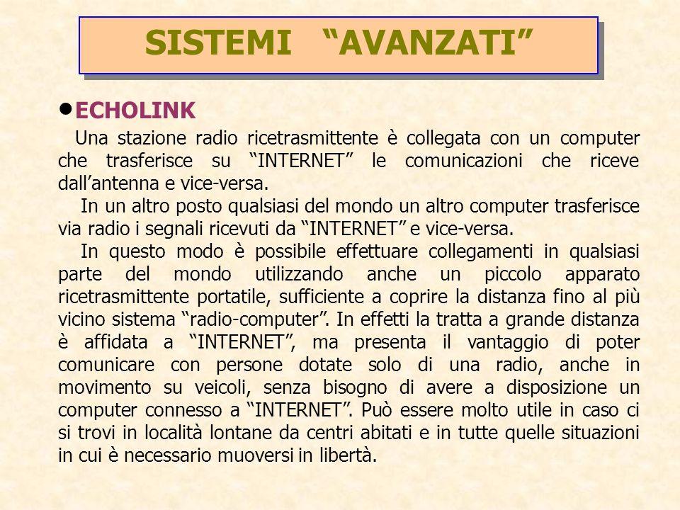SISTEMI AVANZATI ECHOLINK Una stazione radio ricetrasmittente è collegata con un computer che trasferisce su INTERNET le comunicazioni che riceve dall