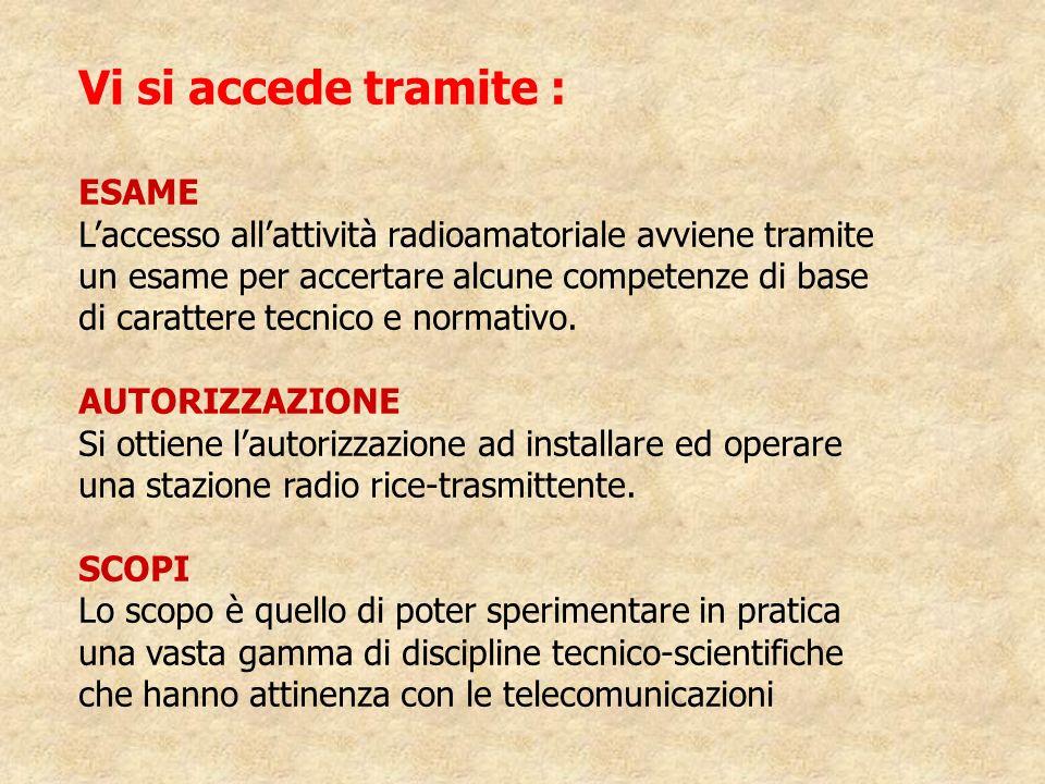 Vi si accede tramite : ESAME Laccesso allattività radioamatoriale avviene tramite un esame per accertare alcune competenze di base di carattere tecnic