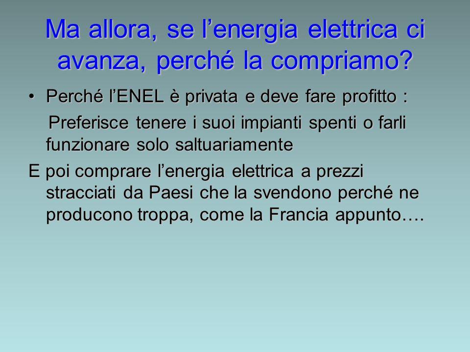 Ma allora, se lenergia elettrica ci avanza, perché la compriamo? Perché lENEL è privata e deve fare profitto :Perché lENEL è privata e deve fare profi