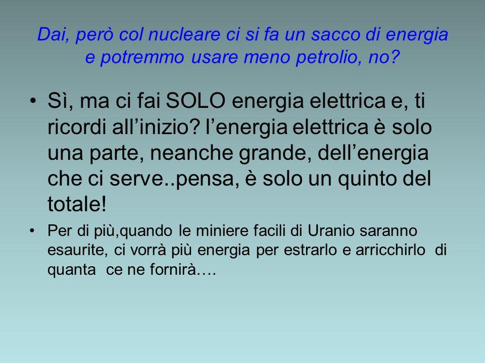 Dai, però col nucleare ci si fa un sacco di energia e potremmo usare meno petrolio, no? Sì, ma ci fai SOLO energia elettrica e, ti ricordi allinizio?