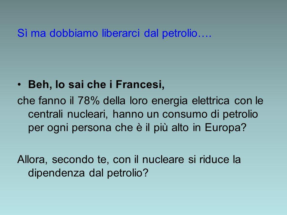 Beh, lo sai che i Francesi, che fanno il 78% della loro energia elettrica con le centrali nucleari, hanno un consumo di petrolio per ogni persona che