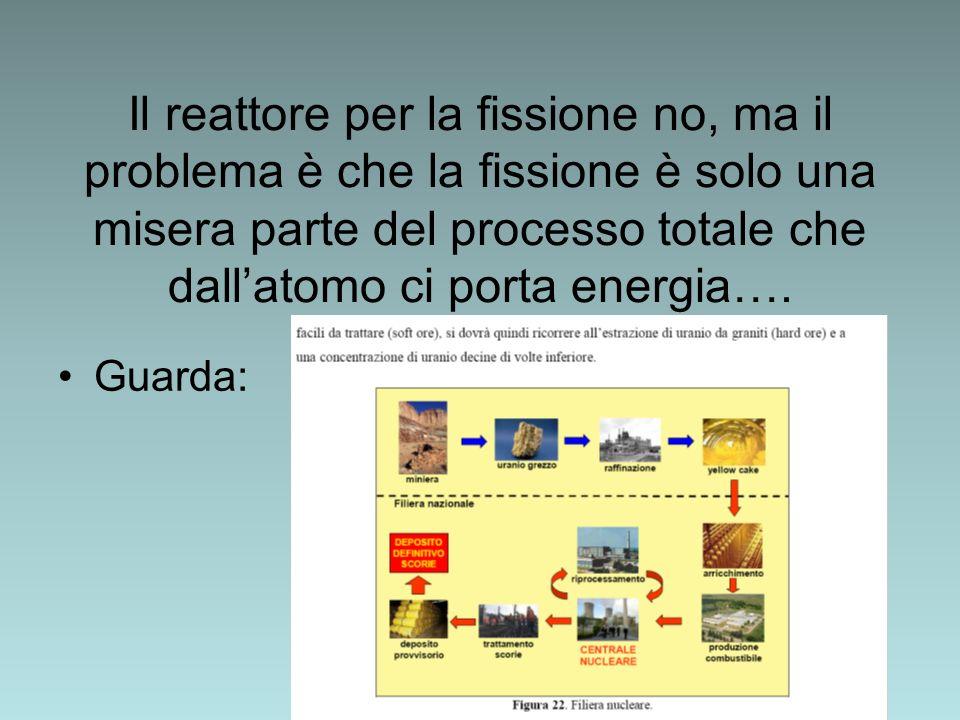Il reattore per la fissione no, ma il problema è che la fissione è solo una misera parte del processo totale che dallatomo ci porta energia…. Guarda: