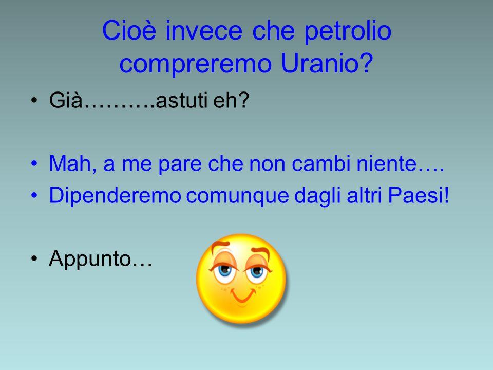 Cioè invece che petrolio compreremo Uranio? Già……….astuti eh? Mah, a me pare che non cambi niente…. Dipenderemo comunque dagli altri Paesi! Appunto…