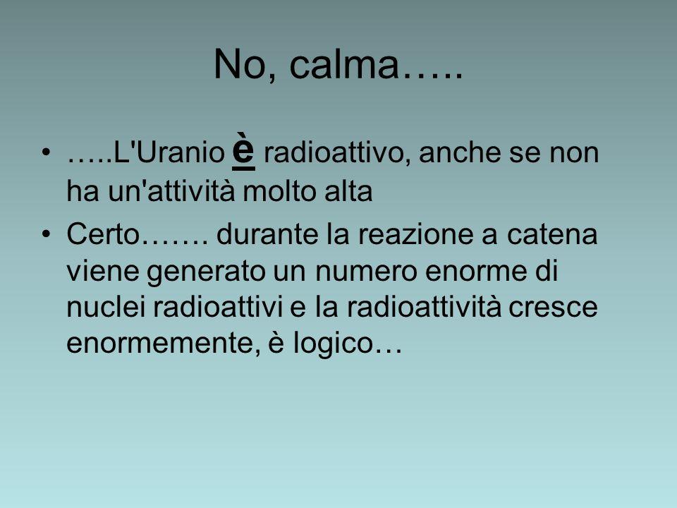No, calma….. …..L'Uranio è radioattivo, anche se non ha un'attività molto alta Certo……. durante la reazione a catena viene generato un numero enorme d