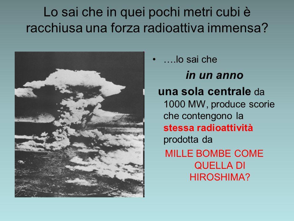 Lo sai che in quei pochi metri cubi è racchiusa una forza radioattiva immensa? ….lo sai che in un anno una sola centrale da 1000 MW, produce scorie ch