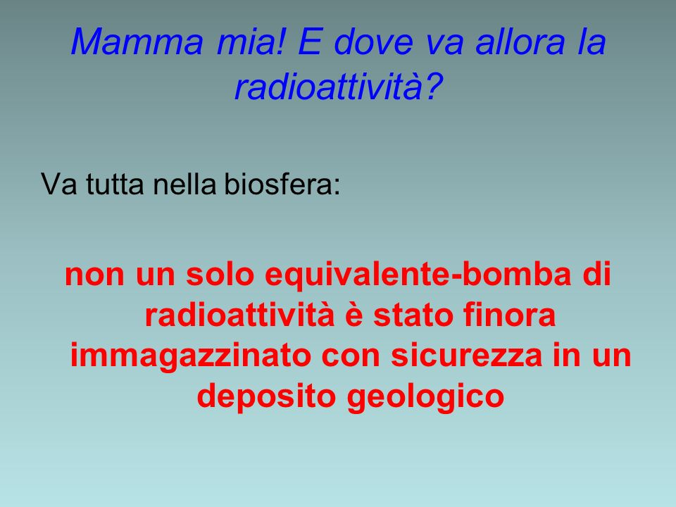 Mamma mia! E dove va allora la radioattività? Va tutta nella biosfera: non un solo equivalente-bomba di radioattività è stato finora immagazzinato con