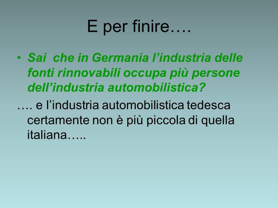 E per finire…. Sai che in Germania lindustria delle fonti rinnovabili occupa più persone dellindustria automobilistica? …. e lindustria automobilistic