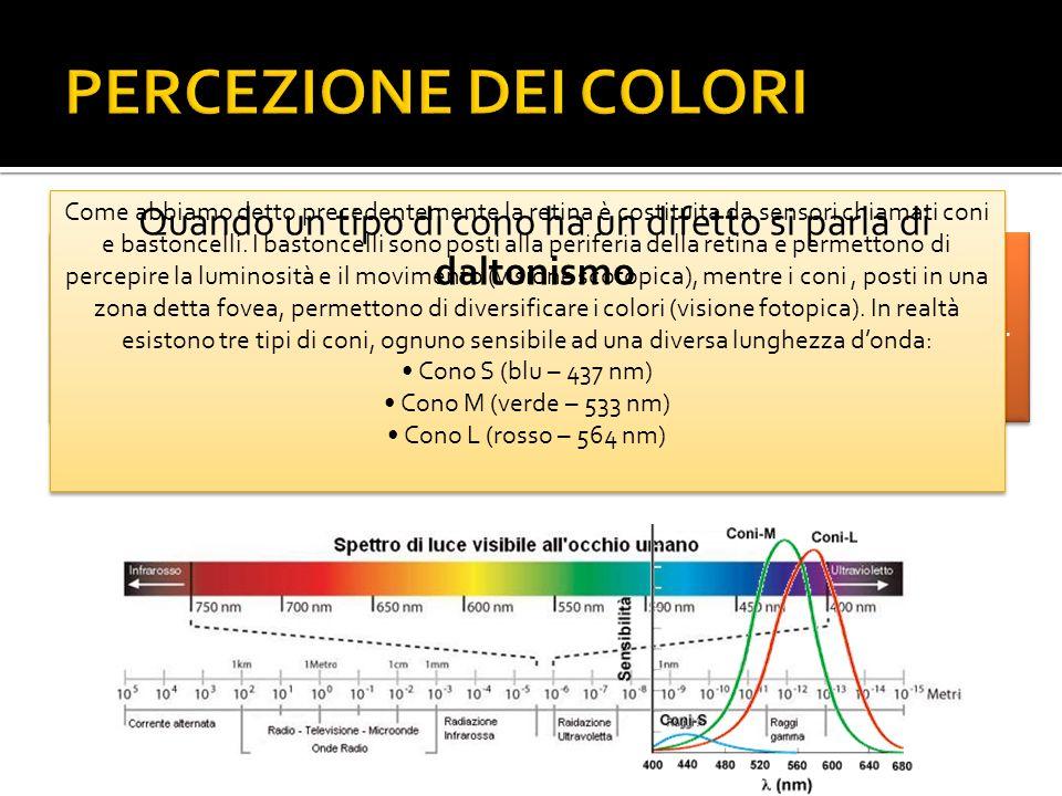 DALTONISMO Il daltonismo fu descritto per la prima volta da John Dalton, scienziato inglese che era affetto da deuteranopia nel 1798 Il daltonismo è una condizione in cui si ha unalterata percezione dei colori Visione normale Acromatopsia Protanopia Protanomalia Deuteranopia Deuteranomalia Tritanopia Tritanomalia