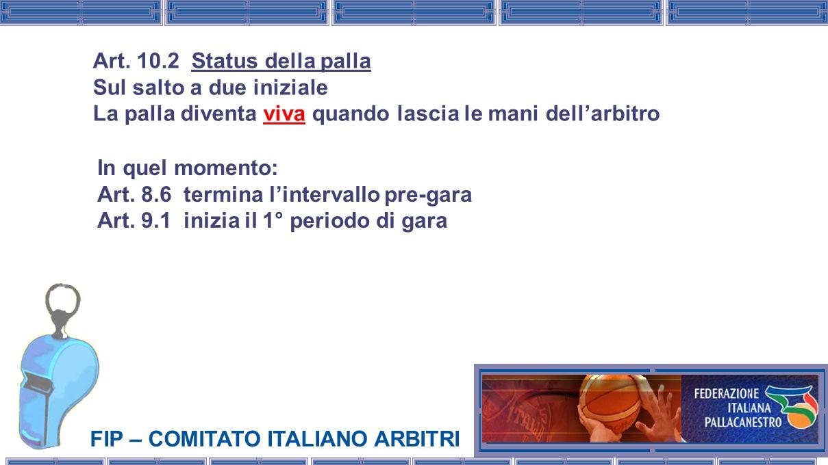 FIP – COMITATO ITALIANO ARBITRI In quel momento: Art. 8.6 termina lintervallo pre-gara Art. 9.1 inizia il 1° periodo di gara Art. 10.2 Status della pa