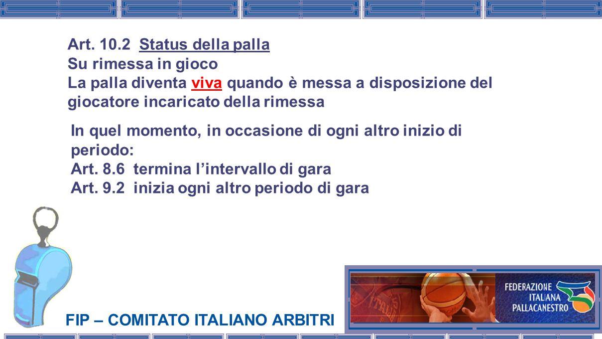 FIP – COMITATO ITALIANO ARBITRI In quel momento, in occasione di ogni altro inizio di periodo: Art. 8.6 termina lintervallo di gara Art. 9.2 inizia og