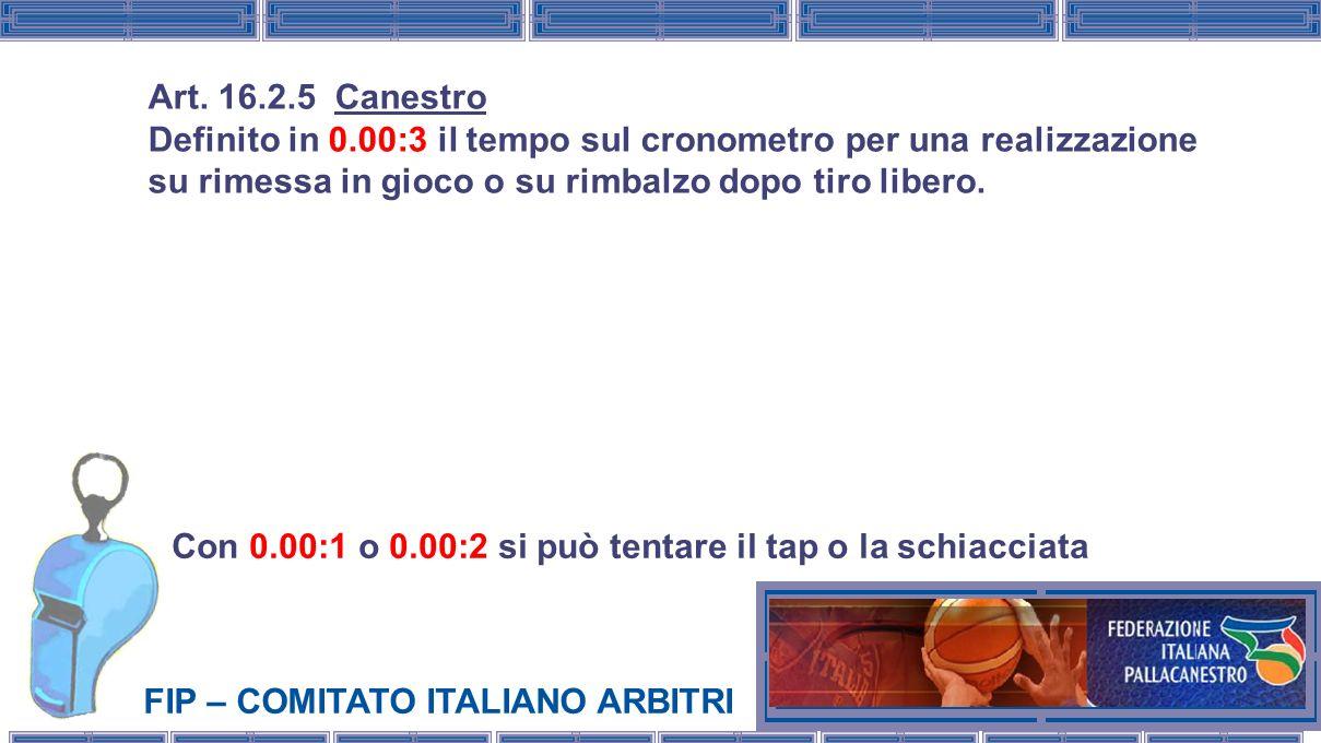 FIP – COMITATO ITALIANO ARBITRI Con 0.00:1 o 0.00:2 si può tentare il tap o la schiacciata Art. 16.2.5 Canestro Definito in 0.00:3 il tempo sul cronom