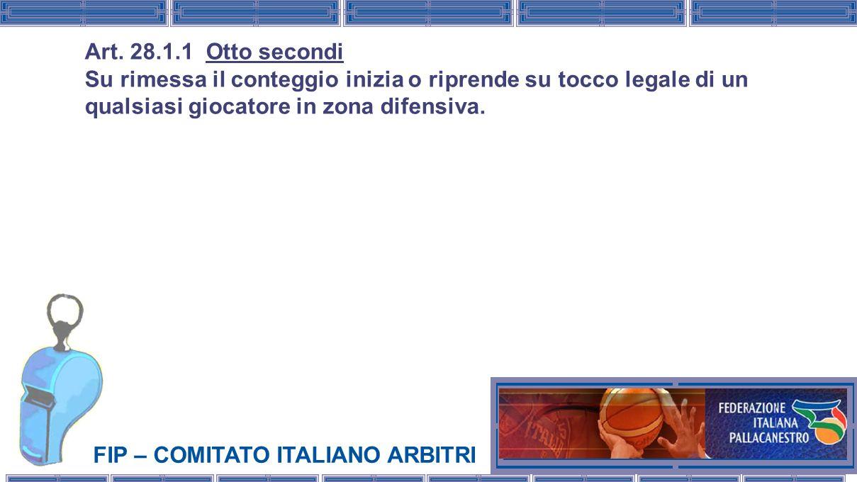 FIP – COMITATO ITALIANO ARBITRI Art. 28.1.1 Otto secondi Su rimessa il conteggio inizia o riprende su tocco legale di un qualsiasi giocatore in zona d