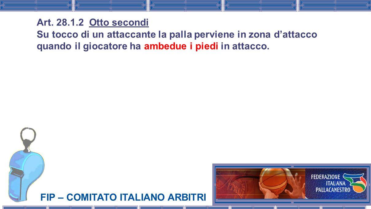 FIP – COMITATO ITALIANO ARBITRI Art. 28.1.2 Otto secondi Su tocco di un attaccante la palla perviene in zona dattacco quando il giocatore ha ambedue i