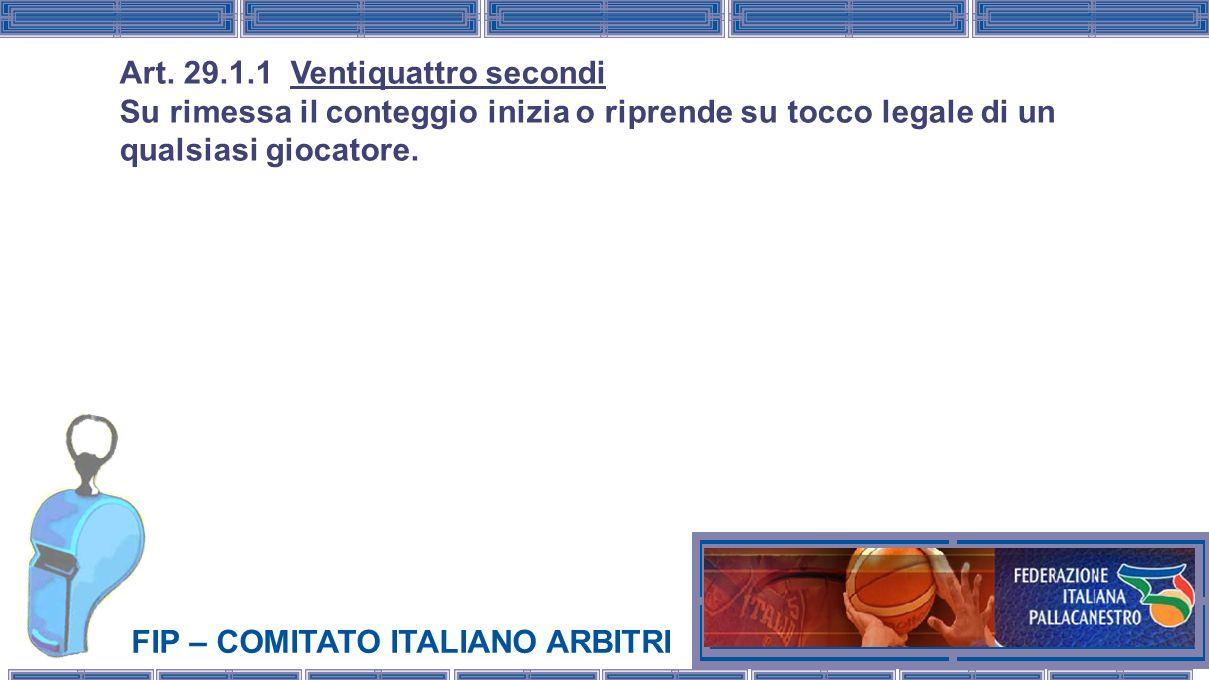 FIP – COMITATO ITALIANO ARBITRI Art. 29.1.1 Ventiquattro secondi Su rimessa il conteggio inizia o riprende su tocco legale di un qualsiasi giocatore.