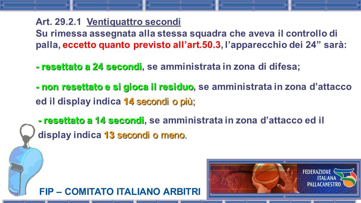 FIP – COMITATO ITALIANO ARBITRI Art. 29.2.1 Ventiquattro secondi Su rimessa assegnata alla stessa squadra che aveva il controllo di palla, eccetto qua