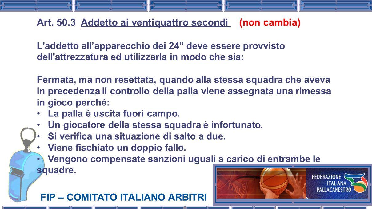 FIP – COMITATO ITALIANO ARBITRI Art. 50.3 Addetto ai ventiquattro secondi (non cambia) L'addetto allapparecchio dei 24 deve essere provvisto dell'attr