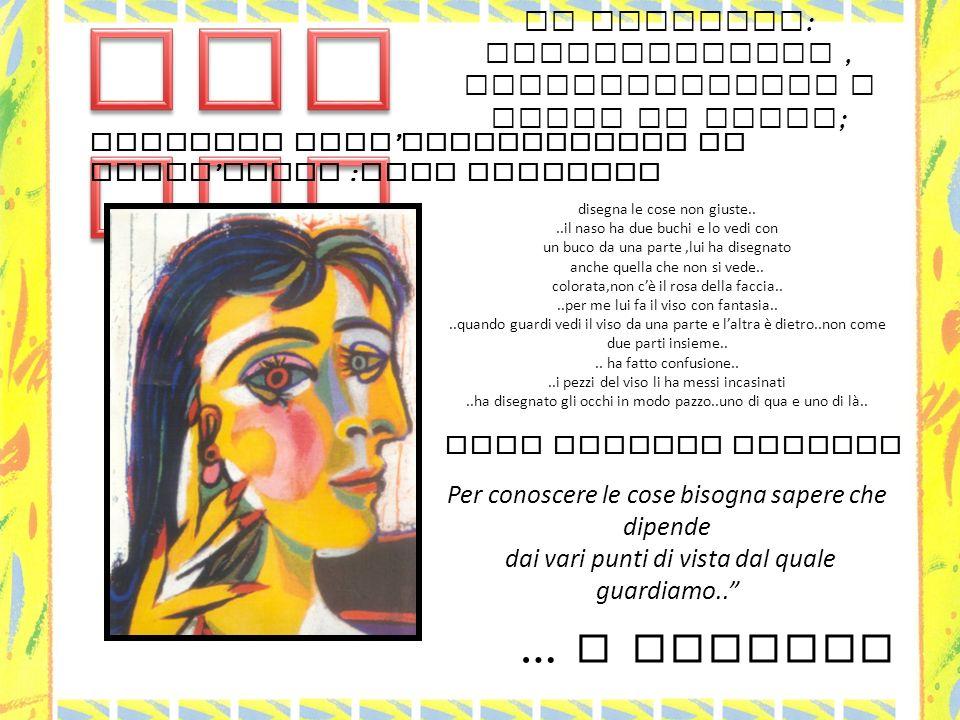 … e poi realizziamo opere come Picasso … Continuiamo sperimentando Giochiamo ad osservare il viso del compagno Mettendoci davanti,a destra, a sinistra,dietro..Cosa vediamo che cambia….