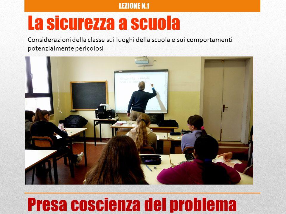 La sicurezza a scuola Considerazioni della classe sui luoghi della scuola e sui comportamenti potenzialmente pericolosi LEZIONE N.1 Presa coscienza del problema