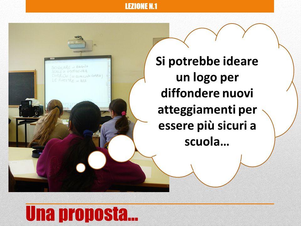 Si potrebbe ideare un logo per diffondere nuovi atteggiamenti per essere più sicuri a scuola… Una proposta… LEZIONE N.1