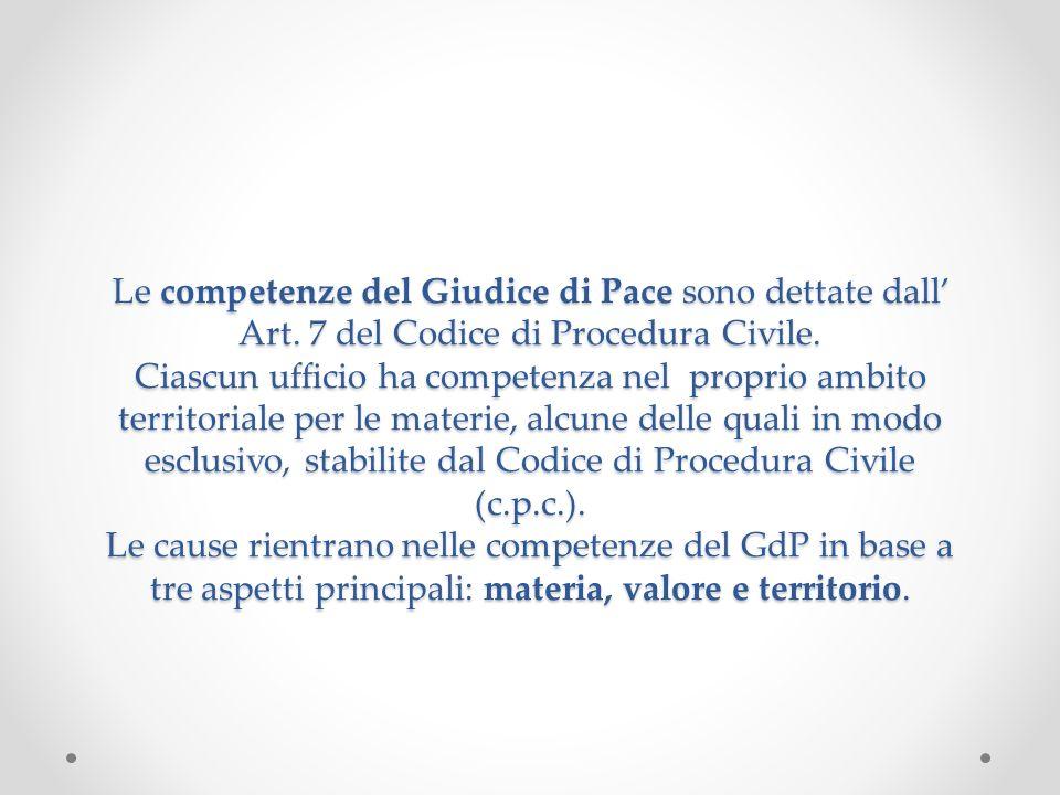 Le competenze del Giudice di Pace sono dettate dall Art. 7 del Codice di Procedura Civile. Ciascun ufficio ha competenza nel proprio ambito territoria