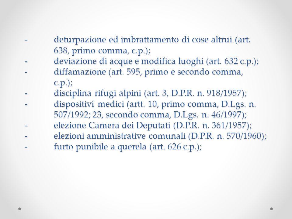 -deturpazione ed imbrattamento di cose altrui (art. 638, primo comma, c.p.); -deviazione di acque e modifica luoghi (art. 632 c.p.); -diffamazione (ar