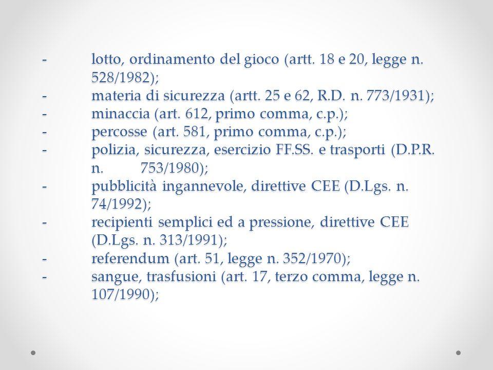 -lotto, ordinamento del gioco (artt. 18 e 20, legge n. 528/1982); -materia di sicurezza (artt. 25 e 62, R.D. n. 773/1931); -minaccia (art. 612, primo