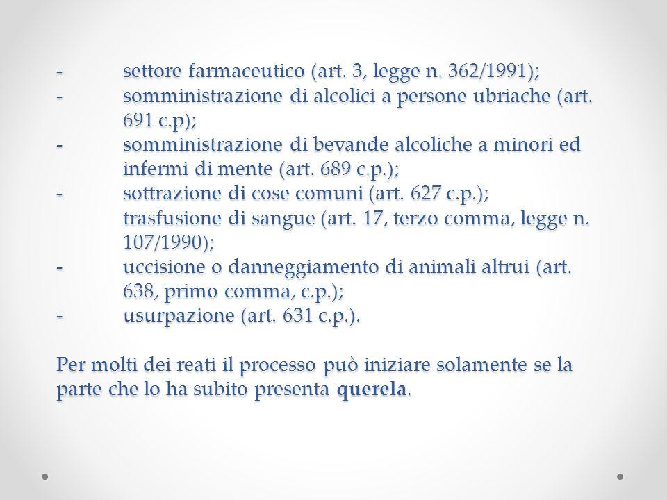 -settore farmaceutico (art. 3, legge n. 362/1991); -somministrazione di alcolici a persone ubriache (art. 691 c.p); -somministrazione di bevande alcol