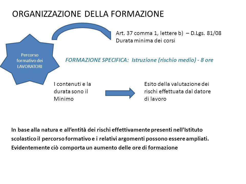 ORGANIZZAZIONE DELLA FORMAZIONE In base alla natura e allentità dei rischi effettivamente presenti nellIstituto scolastico il percorso formativo e i r