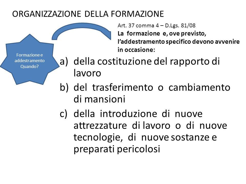 ORGANIZZAZIONE DELLA FORMAZIONE a)della costituzione del rapporto di lavoro b)del trasferimento o cambiamento di mansioni c)della introduzione di nuov