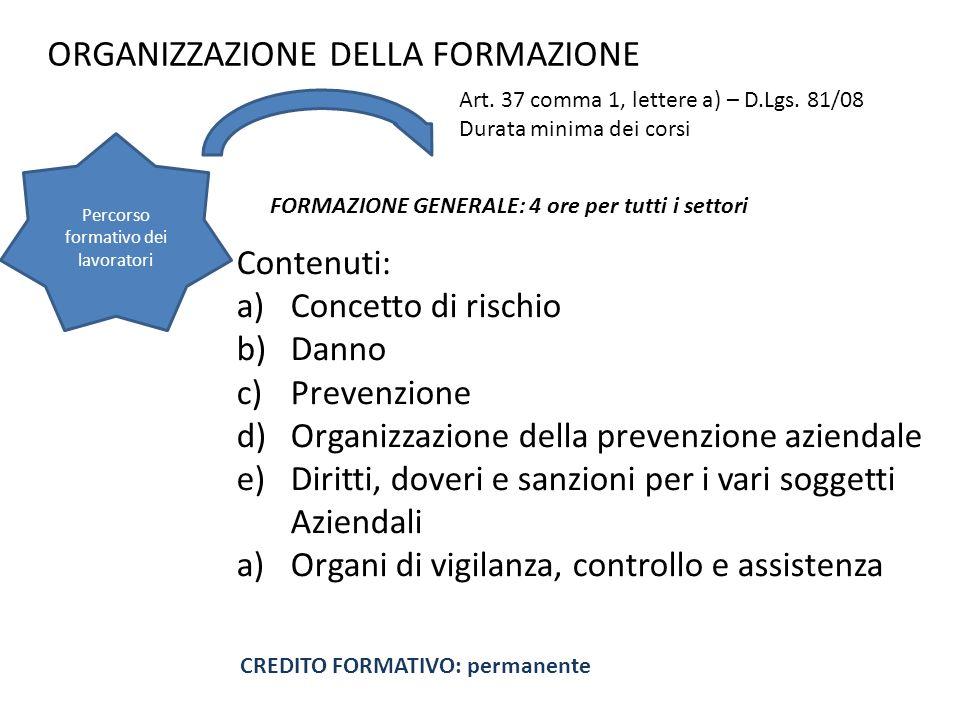 ORGANIZZAZIONE DELLA FORMAZIONE Contenuti: a)Concetto di rischio b)Danno c)Prevenzione d)Organizzazione della prevenzione aziendale e)Diritti, doveri
