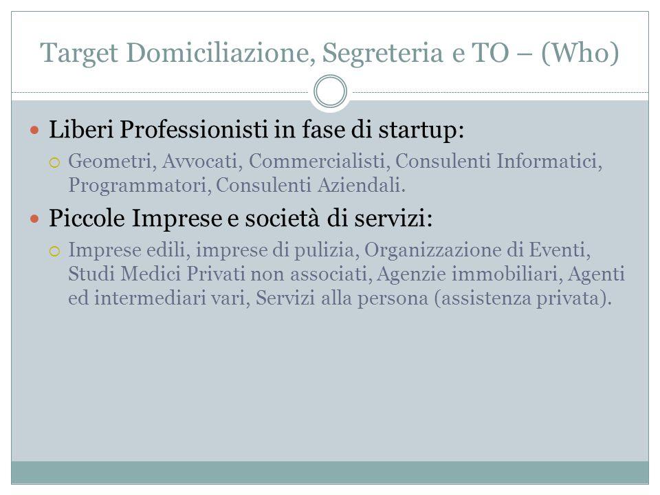Target Domiciliazione, Segreteria e TO – (Who) Liberi Professionisti in fase di startup: Geometri, Avvocati, Commercialisti, Consulenti Informatici, P