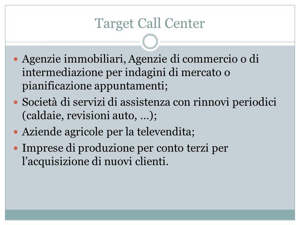 Target Call Center Agenzie immobiliari, Agenzie di commercio o di intermediazione per indagini di mercato o pianificazione appuntamenti; Società di se