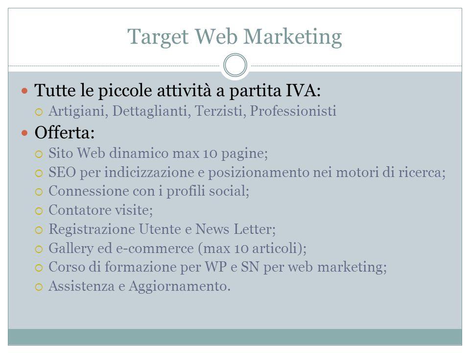 Target Web Marketing Tutte le piccole attività a partita IVA: Artigiani, Dettaglianti, Terzisti, Professionisti Offerta: Sito Web dinamico max 10 pagi
