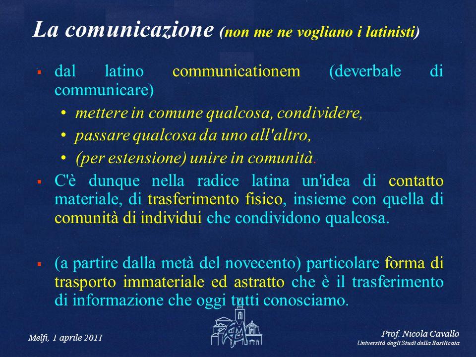 Melfi, 1 aprile 2011 Prof. Nicola Cavallo Università degli Studi della Basilicata La comunicazione (non me ne vogliano i latinisti) dal latino communi