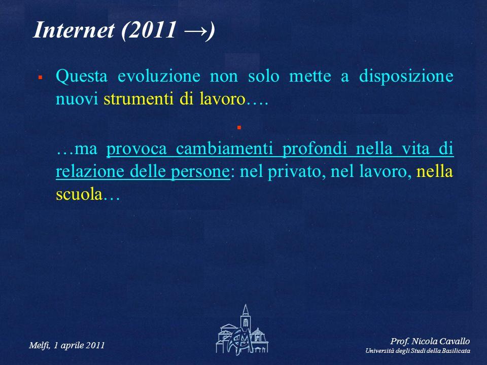 Melfi, 1 aprile 2011 Prof. Nicola Cavallo Università degli Studi della Basilicata Internet (2011 ) Questa evoluzione non solo mette a disposizione nuo