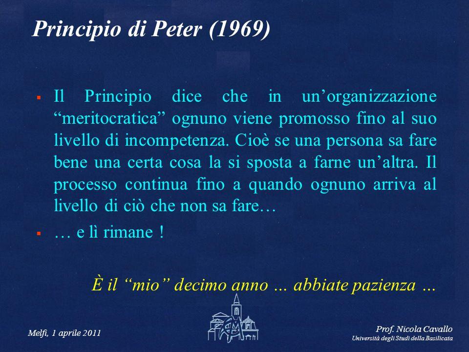 Melfi, 1 aprile 2011 Prof. Nicola Cavallo Università degli Studi della Basilicata Principio di Peter (1969) Il Principio dice che in unorganizzazione