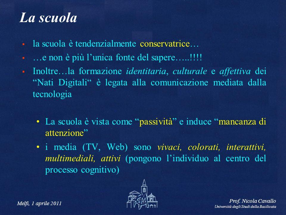 Melfi, 1 aprile 2011 Prof. Nicola Cavallo Università degli Studi della Basilicata La scuola la scuola è tendenzialmente conservatrice… …e non è più lu