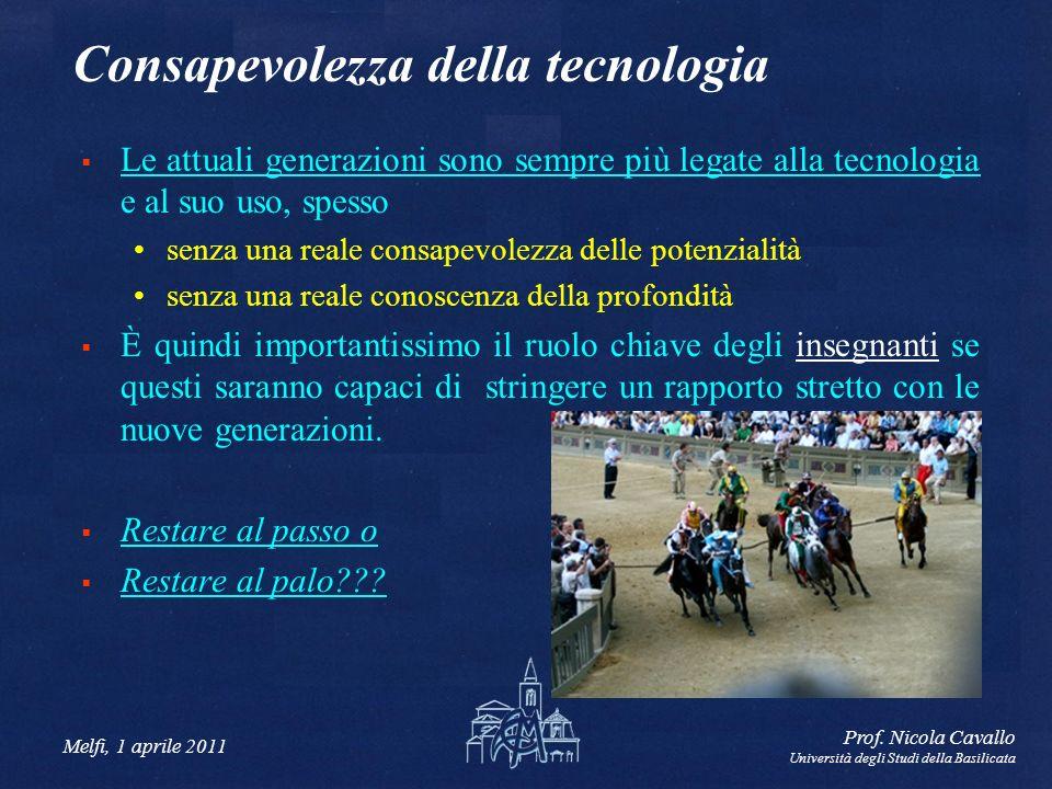 Melfi, 1 aprile 2011 Prof. Nicola Cavallo Università degli Studi della Basilicata Consapevolezza della tecnologia Le attuali generazioni sono sempre p