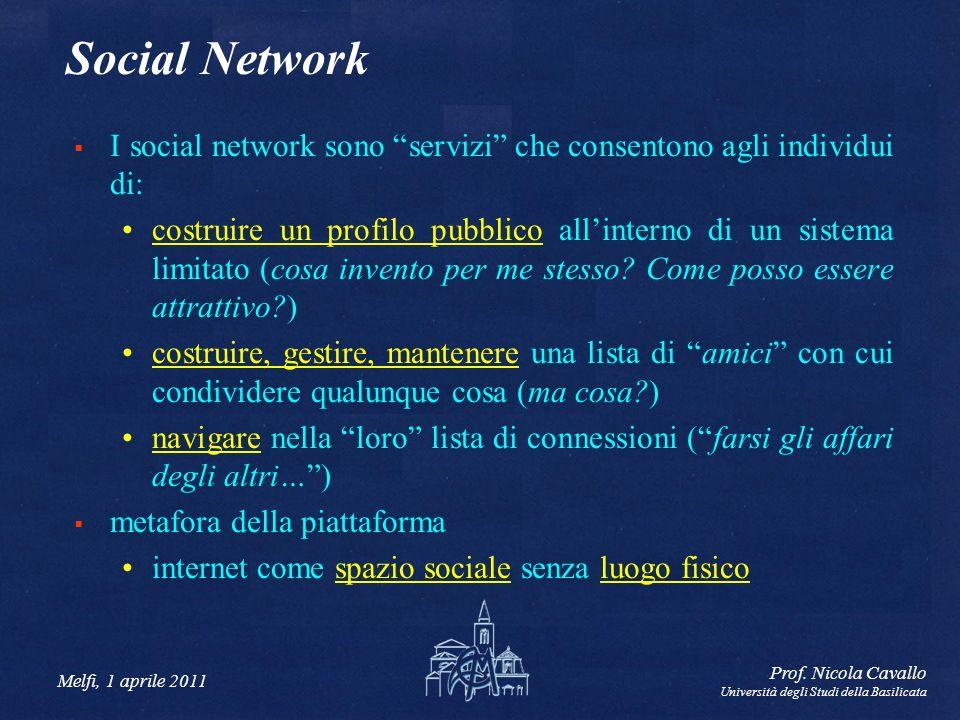 Melfi, 1 aprile 2011 Prof. Nicola Cavallo Università degli Studi della Basilicata Social Network I social network sono servizi che consentono agli ind