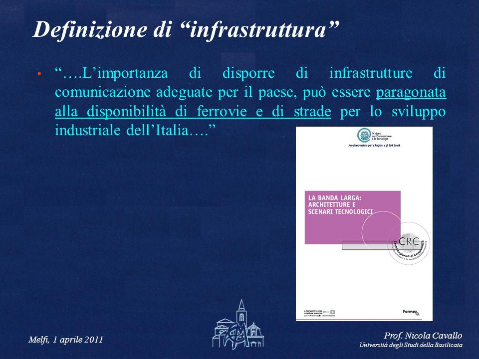 Melfi, 1 aprile 2011 Prof. Nicola Cavallo Università degli Studi della Basilicata Definizione di infrastruttura ….Limportanza di disporre di infrastru