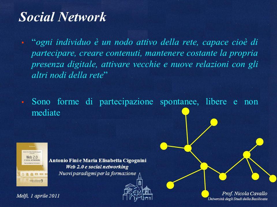 Melfi, 1 aprile 2011 Prof. Nicola Cavallo Università degli Studi della Basilicata Social Network ogni individuo è un nodo attivo della rete, capace ci