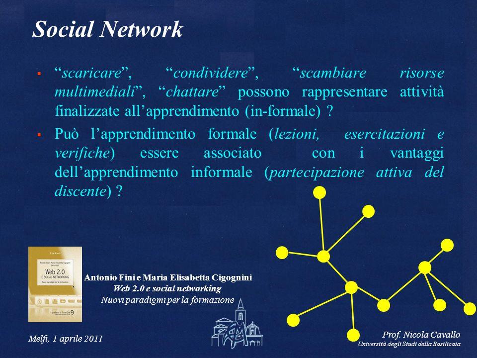 Melfi, 1 aprile 2011 Prof. Nicola Cavallo Università degli Studi della Basilicata Social Network scaricare, condividere, scambiare risorse multimedial