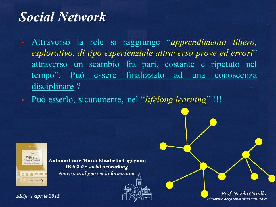 Melfi, 1 aprile 2011 Prof. Nicola Cavallo Università degli Studi della Basilicata Social Network Attraverso la rete si raggiunge apprendimento libero,