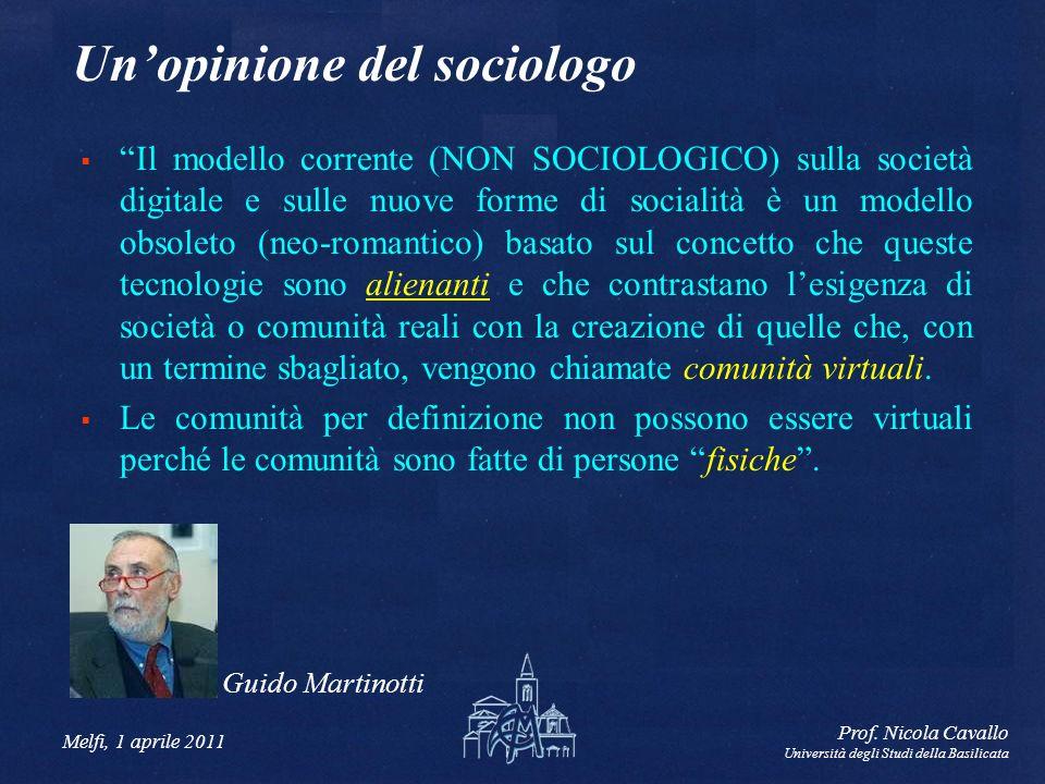 Melfi, 1 aprile 2011 Prof. Nicola Cavallo Università degli Studi della Basilicata Unopinione del sociologo Il modello corrente (NON SOCIOLOGICO) sulla
