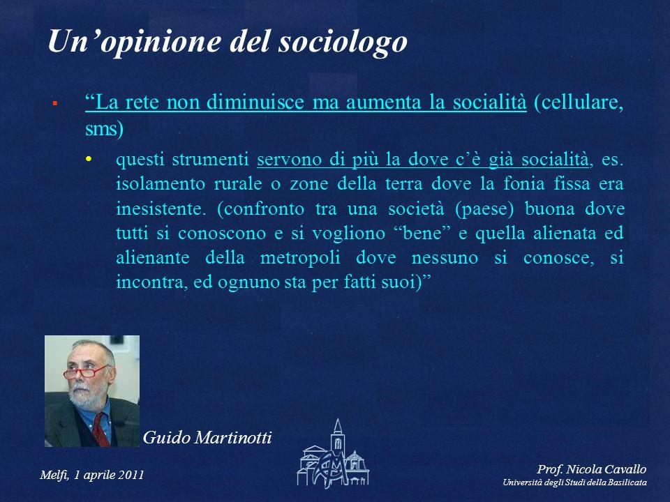 Melfi, 1 aprile 2011 Prof. Nicola Cavallo Università degli Studi della Basilicata Unopinione del sociologo La rete non diminuisce ma aumenta la social