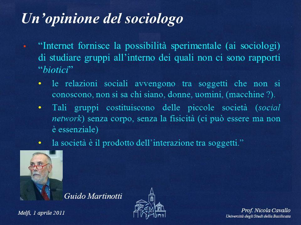 Melfi, 1 aprile 2011 Prof. Nicola Cavallo Università degli Studi della Basilicata Unopinione del sociologo Internet fornisce la possibilità sperimenta