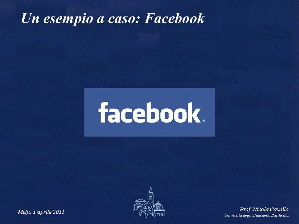 Melfi, 1 aprile 2011 Prof. Nicola Cavallo Università degli Studi della Basilicata Un esempio a caso: Facebook